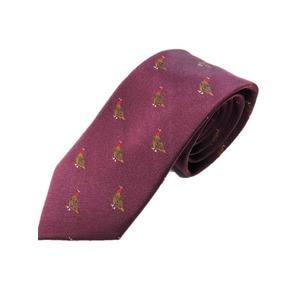 トラッド シルク100%手縫いネクタイ クレスト(バード)×ワイン(ボルドー) - 拡大画像