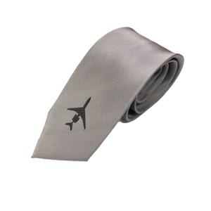 トラッド シルク100%手縫いネクタイ クレスト×グレー ワンポイント - 拡大画像