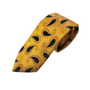 トラッド シルク100%ネクタイ ゴールド×ペイズリー - 拡大画像