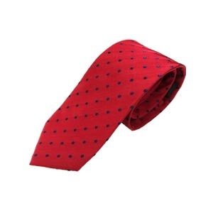 正バイアス手縫いシルク100%ネクタイ 水玉 ドット レッド×ネイビー抜き - 拡大画像
