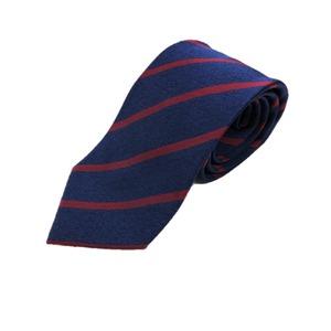 トラッド 日本製シルク100%ネクタイ メランジネイビー×織レッドストライプ - 拡大画像