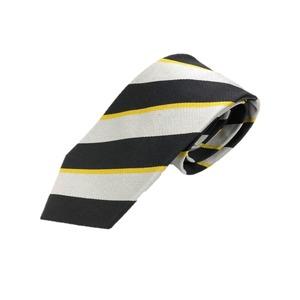 トラッド 日本製シルク100%ネクタイ シルバー&ブラック - 拡大画像