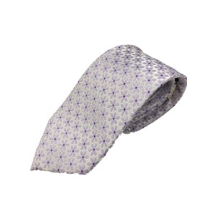 おすすめ 手縫いシルク100%ネクタイ 花柄 シルバー ミシンステッチ強化仕様 - 拡大画像