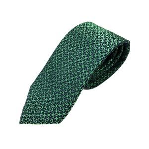 おすすめ シルク100%ネクタイ グリーン&ブラック 大柄 - 拡大画像