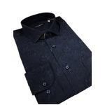 イタリア製ファクトリーシャツ from milano ダークネイビー×フラワー Mサイズ
