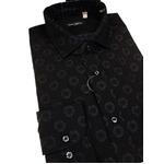おすすめ イタリア製ファクトリーシャツ from milano ブラック×水玉 Mサイズ
