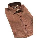 おすすめ イタリア製ファクトリーシャツ from milano エンジ×水玉 Mサイズ