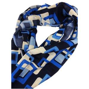 イタリア製ファクトリーストール&マフラー from NAPOLI ブルー 幾何学 - 拡大画像