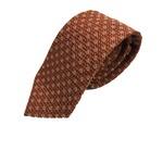 日本製シルク100%ネクタイ 水玉×編み仕立て ドット ブラウン×ホワイト抜き