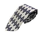 日本製シルク100%ネクタイ シルバー&ネイビー ひし形