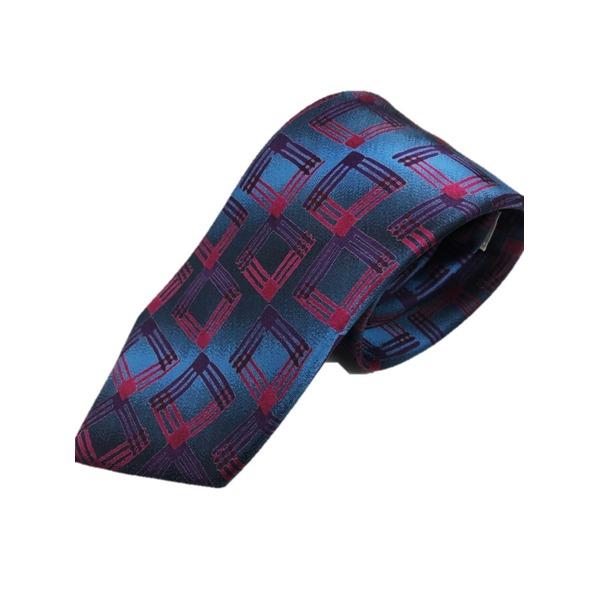日本製シルク100%ネクタイ ヴィンテージデザインシリーズ ブルー&ワイン×□幾何学