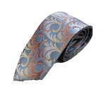 手縫いシルク100%プレミアムネクタイ デザイン2×マリンブルー