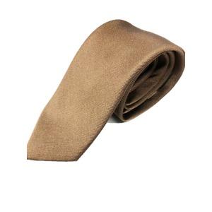 手縫いシルク100%プレミアムネクタイ ブラウン×無地織り - 拡大画像