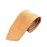 シルク100%ネクタイ オレンジ×チェック