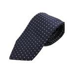 日本製シルク100%ネクタイ ネイビー×織小柄