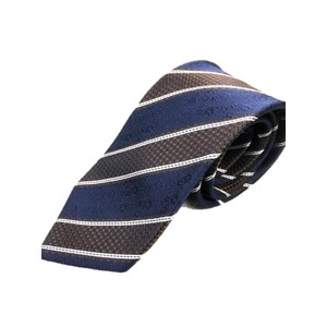 トラッド 日本製レジメンタル シルク100%ネクタイ ネイビー×ブラウン織りストライプ - 拡大画像