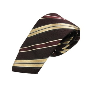 トラッド 日本製レジメンタル シルク100%ネクタイ ボルドー×ゴールド織りストライプ - 拡大画像