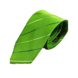 シルク100%ネクタイ ライトグリーン×織りストライプ - 拡大画像