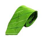 シルク100%ネクタイ ライトグリーン×織りストライプ