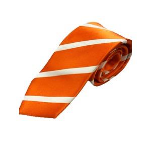 シルク100%プレミアムネクタイ オレンジ×サテン織りストライプ - 拡大画像