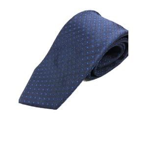 日本製シルク100%ネクタイ ネイビー×織水玉 ブルー抜き - 拡大画像