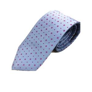 手縫いシルク100%ネクタイ ブルー×ローズ小紋 - 拡大画像