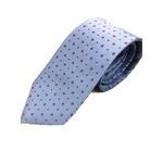 手縫いシルク100%ネクタイ ブルー×ローズ小紋