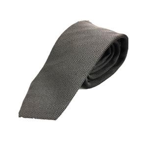 日本製シルク100%ネクタイ グレー×無地織り ヘリンボーン - 拡大画像