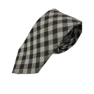 おすすめ 日本製シルクコットンプレミアムネクタイ ブラック×グレーチェック - 拡大画像