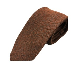 おすすめ 日本製シルクウールプレミアムネクタイ ブラウン×メランジ 無地織り 共裏仕様 - 拡大画像