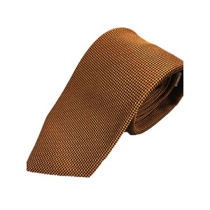 日本製シルク100%ネクタイ 無地織り×ブラウン&ブラック - 拡大画像