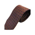 日本製シルク100%ネクタイ 定番 小紋×ブラウン 強化ミシンステッチ仕様