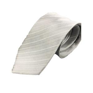 おすすめ 日本製シルク100%プレミアムネクタイ シルバーホワイト 礼装にも - 拡大画像
