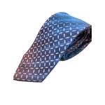 日本製シルク100%プレミアムネクタイ 幾何学×ブルー&さくらピンク