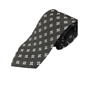 日本製シルク100%プレミアムネクタイ ブラック織り×小紋 - 拡大画像