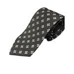 日本製シルク100%プレミアムネクタイ ブラック織り×小紋