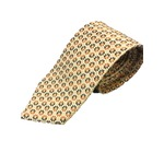日本製シルク100%プレミアムネクタイ ブラウン&クリーム×織小紋