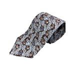 日本製シルク100%プレミアムプリントネクタイ ブラウン&ブルー×ペイズリー