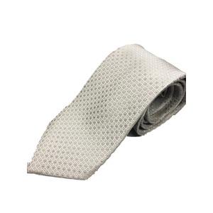 日本製シルク100%ネクタイ シルバーホワイト×無地織り 礼装にも - 拡大画像