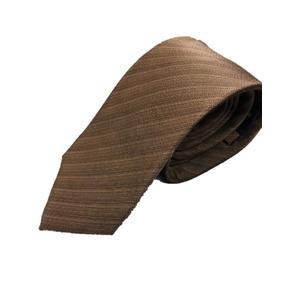 手縫いシルク100%プレミアムネクタイ ブラウン×織り - 拡大画像