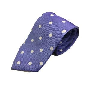 日本製シルク100%ネクタイ ブルー&ホワイト 水玉 中水玉 - 拡大画像