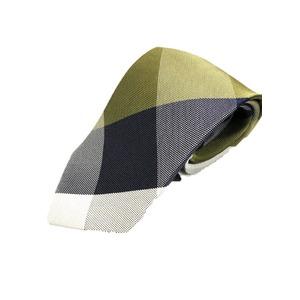 日本製シルク100%プレミアムネクタイ チェック×ネイビー&グリーン - 拡大画像