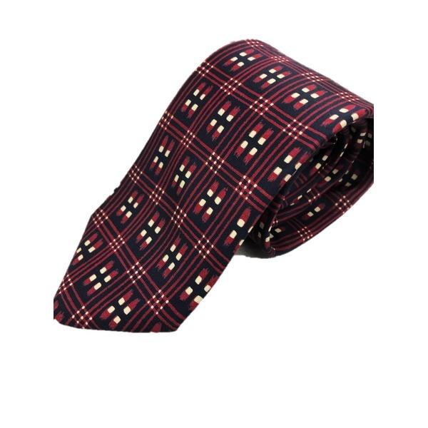 日本製シルク100%プリントネクタイ 柄×レッド&ブラック