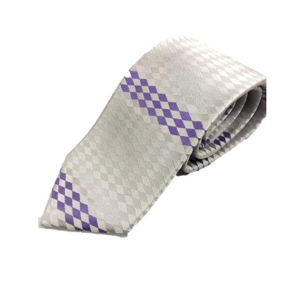 日本製シルク100%ネクタイ ひし形×シルバーホワイト