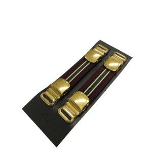 アームバンド・シャツガーター ゴールドクリップタイプ JAPAN MADE トラッド ボルドー ×カーキ×ベージュ - 拡大画像