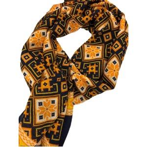 イタリア製ファクトリーストール&マフラー from NAPOLI パンプキンイエロー&ネイビー Factory stall & scarf from NAPOLI made in Italy - 拡大画像