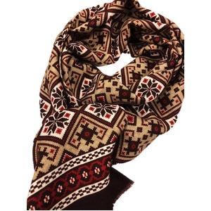 イタリア製ファクトリーストール&マフラー from NAPOLI レッド&ブラウン Factory stall & scarf from NAPOLI red & brown made in Italy - 拡大画像