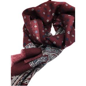 イタリア製ファクトリーストール from NAPOLI ボルドー ペイズリー×小紋 Factory stall from NAPOLI Bordeaux paisley X fine pattern made in Italy - 拡大画像