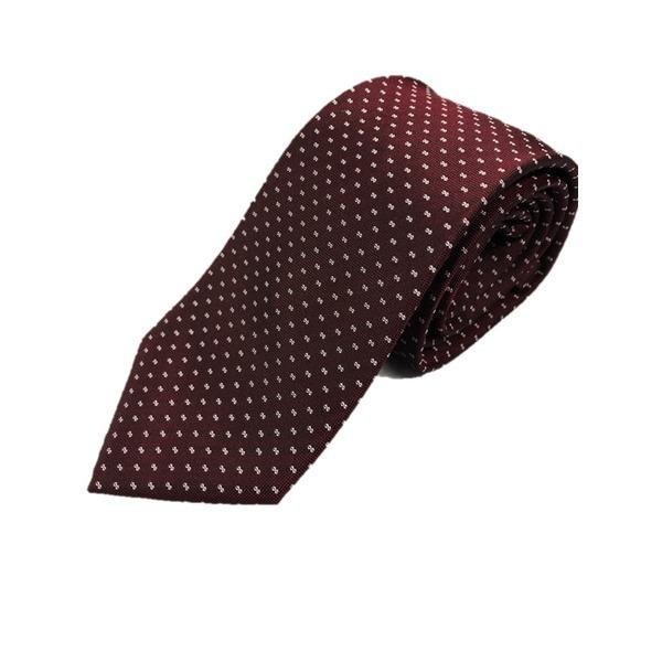 イタリア製 シルク100%ネクタイ From MILANO エンジ×小柄 Silk 100% tie From MILANO crimson×made in Italy is small