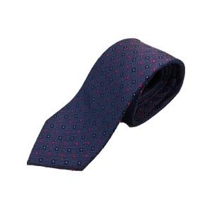 イタリア製 シルク100%ネクタイ From MILANO ブルー×ローズ 小柄 - 拡大画像